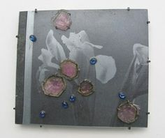 Bettina Speckner,  Brooch 2007 Photoetching/ Zinc; Silver; Tourmalines; Saphires