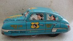 Vintage Dick Tracy Tin Toy Friction Car - Comic Strip Police Detective