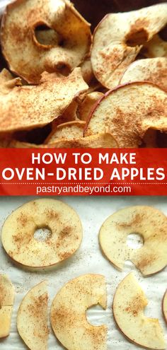How to make dried apples: You can easily learn how to make dried apples! You should cut the apples very thin, sprinkle cinnamon if desired and dry them in the oven to prepare these healthy snacks. You can make them chewy or crispy. They are perfect snacks Fruit Recipes, Apple Recipes, Fall Recipes, Gourmet Recipes, Snack Recipes, Apple Recipe Healthy, Dry Snacks, Fall Snacks, Healthy Snacks