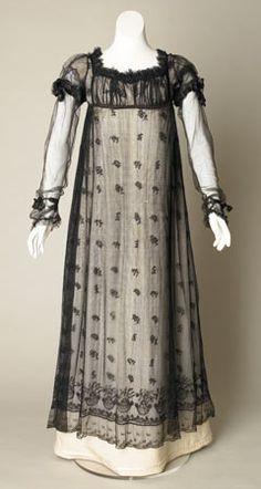 Black Silk Net Evening Gown, 1817-20. #timetravelcostumes @TimeTravelStyle