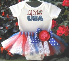 4th of July Lil Miss USA Onsie Outfit with Tutu for Baby Girl. $26.00, via Etsy -love the lace in the tutu
