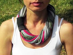 T-SHIRT scarf- necklace, handmade, infinity, loop scarf, spring necklace