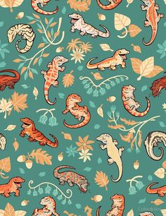 'Autumn geckos in green' by Colordrilos Cute Backgrounds, Cute Wallpapers, Wallpaper Backgrounds, Tier Wallpaper, Animal Wallpaper, Kunst Inspo, Art Inspo, Art And Illustration, Cute Drawings