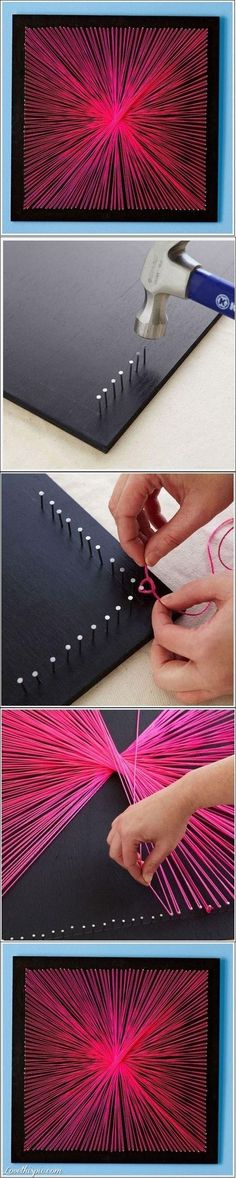 If you have some extra time this weekend and feel like crafting a bit for your future room, try out this neat wall decoration idea!  All you need is nails, a board, string, and a little patience :)