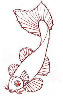 dibujar un pez koi