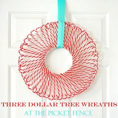 Candy Cane Wreath  Supplies: one white Styrofoam wreath form 9-10 packs of Dollar Tree acrylic candy canes (depending on size of wreath form) white or iridescent glitter (optional) white craft glue hot glue gun and low temp glue sticks (appropriate for using on Styrofoam) Ribbon for hanging