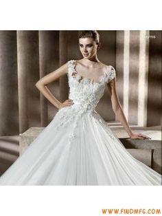 Linha-A Siren amplo alças fecho de courer Aplique Tule Cetim Court cauda casamento Vestidos