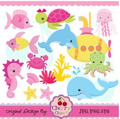 Submarine And Sea Creatures for girls set-Personal and Commercial Use-paper crafts,card making,scrapbooking,web design