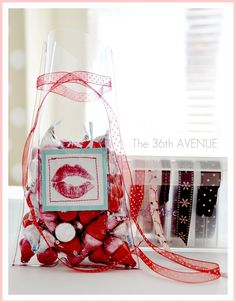 Valentine ♥ Kisses Gift Idea (tutorial).  Uses clear vinyl fabric.