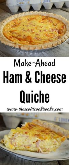 Make keto by ommiting the crust (sray pan really well). This Make-Ahead Ham and Cheese Quiche can be pulled together the night before you need it and customized to your tastes but simply adding your favorite ingredients. Breakfast Quiche, Breakfast Items, Breakfast Dishes, Breakfast Recipes, Breakfast Casserole, Breakfast Potatoes, Breakfast Club, Casserole Dishes, Casserole Recipes