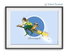 Wall art printable.Witch riding a  Broomcycle.Witch by warblerArt