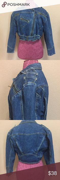 1980s Denim Zipper Jacket Awesome find! Vintage jacket with shoulder pads. Looks to have been barely worn. Not faded. All zippers work with no issues. Lots of details. There is no tag but mannequin is a women's small. Looks to be a size medium. Vintage Jackets & Coats Jean Jackets