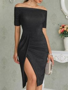 Shop Off Shoulder Ruched Thigh Split Bodycon Dress – Discover sexy women fashion at Boutiquefeel Women's Dresses, Evening Dresses, Short Dresses, Fashion Dresses, Formal Dresses, Party Dresses For Women, Dress Up, Bodycon Dress, Black Dress Outfit Party