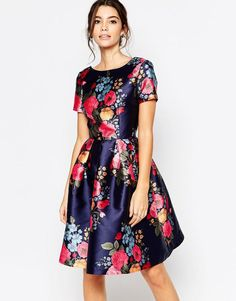 Chi Chi London | Chi Chi London Midi Prom Dress with Full Skirt and Sleeve at ASOS