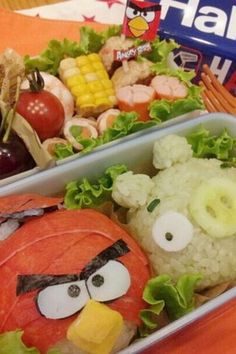 angry birds bento--try with Laughing Cow cheese?