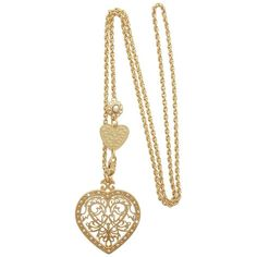 HEART Gold Filigree Pendant ($170) ❤ liked on Polyvore featuring jewelry, pendants, necklaces, gold jewellery, 18k pendant, 18k gold pendant, chain pendants and gold heart pendant