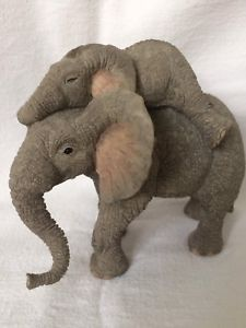 """Tuskers """"Tobias & Tich"""" 1997 By Country Artists Hand Crafted Collectible Elephant Face, Country Artists, Tobias, So Little Time, Dinosaur Stuffed Animal, Adoption, Teddy Bear, Crafts, Animals"""
