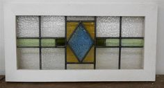 "OLD ENGLISH LEADED STAINED GLASS WINDOW TRANSOM Geometric Design 31.75"" x 16.25"""