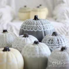 Doily Art drawn on painted artificial pumpkins using Sharpies! Brilliant!