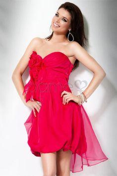 Chiffon Herz-Ausschnitt Birne Karree trägerloses schickes & modernes kurzes Homecoming Kleid