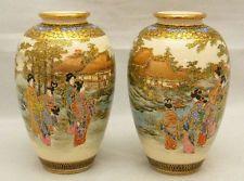 Japanese Meiji Pair of Satsuma Vases, signed
