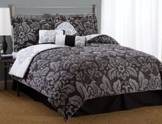 comforters and bedspreads   black and white damask bedding, black damask bedding, damask bedding