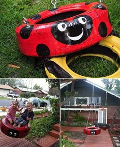 Idéia legal para fazer pra criançada. Ótimo presente de dia das crianças não acha? http://artesanatobrasil.net/reciclagem-de-pneus-usados/  Add: https://plus.google.com/+ArtesanatoBrasilOficial/posts