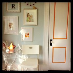 orange washi tape accent. make a faux panelled door