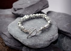Organic Bead silver Nugget Bracelet with Sterling Silver toggle Clasp by CMFDesignsJewellery on Etsy