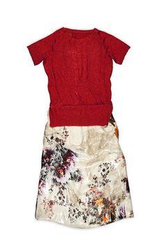 LOOK 4 Silk skirt, thread saten waven shirt