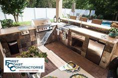 Outdoor Kitchens - First Coast Contractors INC. | Jacksonville Home Improvement, Summer Kitchens, built-in grills, Patio Enclosures, Decks, Roofing, Custom Home Designs, Restoration, Remodeling #homeimprovements