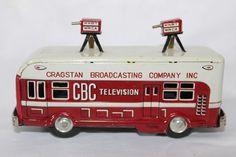Vtg Japan Tin Litho Toy Friction ASAHI CBC TELEVISION VAN Original Box Minty #Unbranded