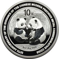 2009 1oz Silver China PRC Chinese Panda 30th Anniversary 10 Yuan Commemorative