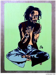 Le Mendiant. 1996. Nicogermain Stencil Graffiti, Stencils, Artworks, Street Art, Joker, Fictional Characters, Art Pieces, Jokers, The Joker