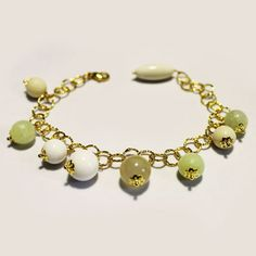 #Bracciale Metallo Anallergico Colore Oro con #Giada, #Agata Striata e #Corallo-Bamboo Bianco