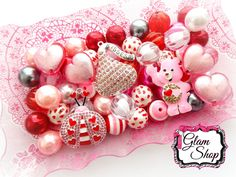 Valentines Bead Kit DIY Chunky Bead Necklace Kit by GlamShopBeads