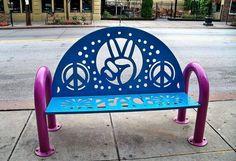 ➳➳➳☮ American Hippie Art - Peace Bench