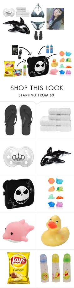 """""""Swimwear: Sara Winters"""" by tiny-mermaid-girl ❤ liked on Polyvore featuring Havaianas, Christy, Wembley, Elegant Baby and The First Years"""
