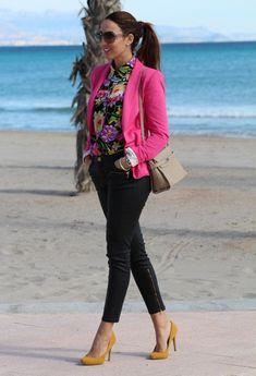 printed shirt and pink blazer