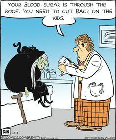 Today on Brevity - Comics by Dan Thompson Halloween Meme, Halloween Cartoons, Happy Halloween, Funny Cartoons, Funny Comics, Hot Weather Humor, Calvin And Hobbes, Funny Cards, Comic Strips