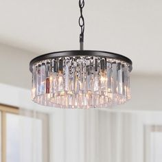 Justina 5-light Antique Black Chandelier with Crystal Glass Prisms - 16404226 - Overstock - Great Deals on The Lighting Store Chandeliers & Pendants - Mobile
