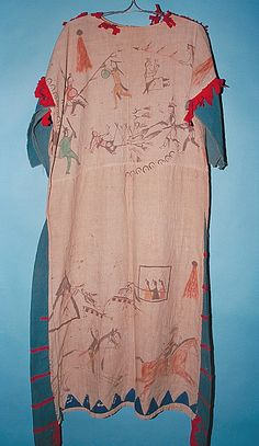 Dress painted with men's battle exploits, probably Sihasapa Lakota (Blackfoot Sioux) (attributed); formerly identified as Pikuni Blackfeet (Piegan). ДА1. Cotton cloth, denim, wool cloth, paint, thread.  156 x 128 cm.  Plains; USA, Canada (inferred).  circa 1890.  Collection history unknown; formerly in the collection of Charles W. Hutchinson (1826-ca. 1900, Utica, New York, banker, railroad owner, and collector); acquired by MAI from an unknown source in 1930. NMAI.
