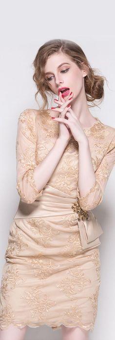 Beige Embroidered Rhinestone Dress