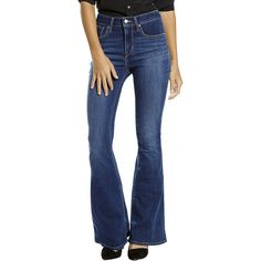 Levis High-Rise Flare Jeans ($30) ❤ liked on Polyvore featuring jeans, high-waisted skinny jeans, slim fit jeans, blue jeans, high rise skinny jeans and high-rise flared jeans