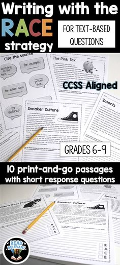 10 passages to help students master passage-based short answer questions. The RACE strategy is a helpful mnemonic device that stands for: Re-state the question, Answer all parts of the question, Cite the text, and Explain your answer.