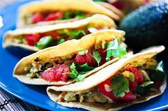 10 Awesome Taco Fillings to Make for Taco Tuesday! Vegan recipes included. Pictured: Cilantro Avocado Chickpea Salad Tacos.