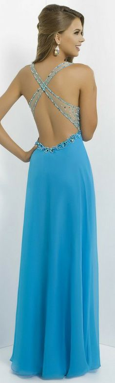 Beautiful blue prom dress, love the open back(: