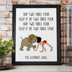 Jungle Book, Disney Quotes, Junior and Mowgli, Printable Quote, Kids Room Decor, Instant Download, Elephant Song #DisneyNursery #JungleBook - Jungle book party, Jungle book nursery, Jungle book birthd - #Junglebook #party