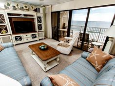This spacious Gulf-front unit at Gulfside offers panoramic views of the beach.
