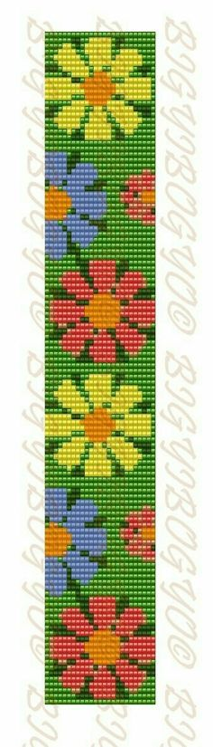 Hobby World ( бисероплетение ) Loom Bracelet Patterns, Bead Loom Bracelets, Bead Loom Patterns, Peyote Patterns, Weaving Patterns, Cross Stitch Patterns, Loom Flowers, Beaded Flowers, Cross Stitch Bookmarks
